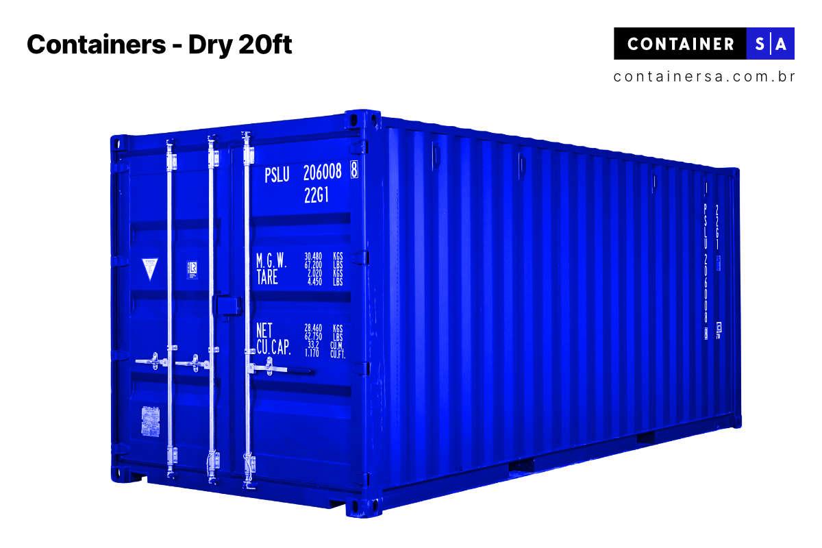 Container 20 pés Dry Container SA Aluguel e Venda de Containers