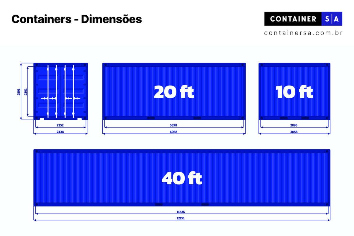 Dimensões de containers de 20 pés 40 pés 10 pés - Container SA